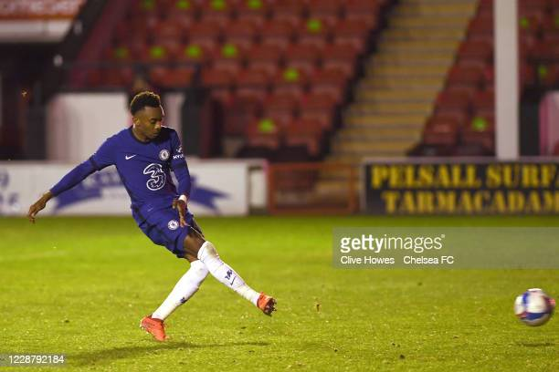 Thierno Ballo of Chelsea takes his penalty in the penalty shootout during the Chelsea Development Squad v Walsall EFL Trophy match at Bank's Stadium...