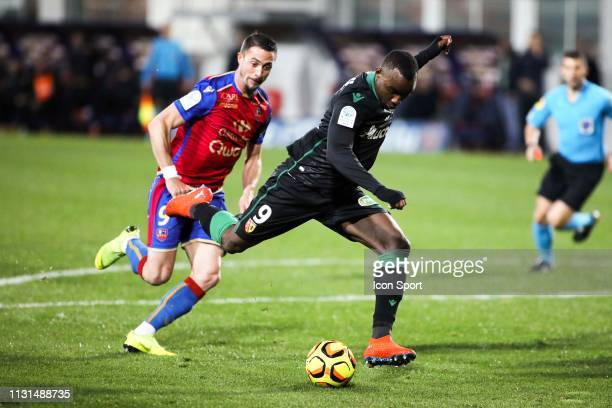 Thierry Ambrose of Lens during the Ligue 2 match between Gazelec Ajaccio and RC Lens at Stade Ange Casanova on March 18 2019 in Ajaccio France