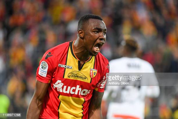 Thierry Ambrose of Lens reacts during the Ligue 2 match between Lens and Lorient at Stade BollaertDelelis on April 23 2019 in Lens France