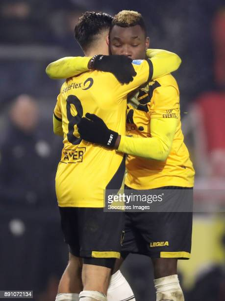 Thierry Ambrose of NAC Breda celebrates 11 with Mounir El Allouchi of NAC Breda during the Dutch Eredivisie match between NAC Breda v Fc Twente at...