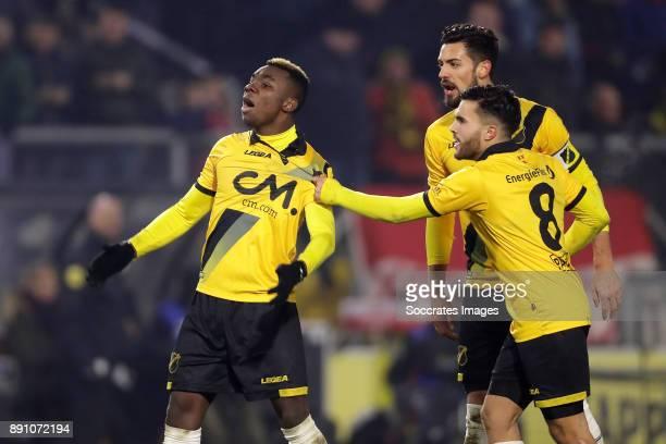 Thierry Ambrose of NAC Breda celebrates 11 with Pablo Mari Villar of NAC Breda Mounir El Allouchi of NAC Breda during the Dutch Eredivisie match...
