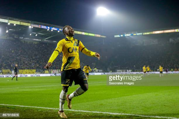 Thierry Ambrose of NAC Breda celebrates 20 during the Dutch Eredivisie match between NAC Breda v FC Utrecht at the Rat Verlegh Stadium on December 23...