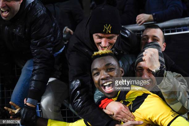 Thierry Ambrose of NAC Breda celebrates the victory with supporters during the Dutch Eredivisie match between NAC Breda v Heracles Almelo at the Rat...