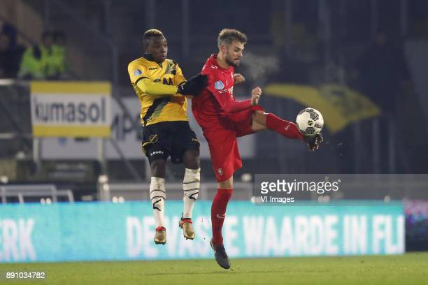 Thierry Ambrose of NAC Breda Stefan Thesker of FC Twente during the Dutch Eredivisie match between NAC Breda and FC Twente Enschede at the Rat...