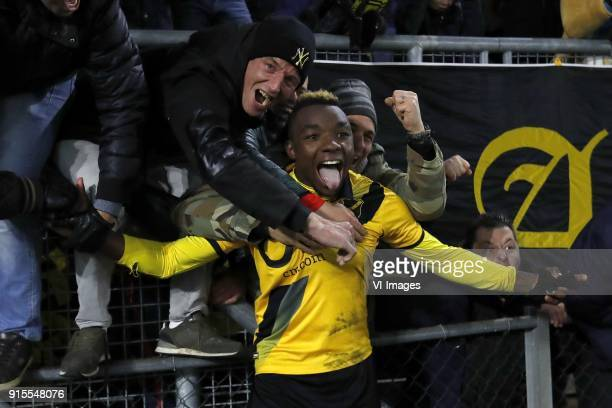 Thierry Ambrose of NAC Breda with fans of NAC Breda during the Dutch Eredivisie match between NAC Breda and Heracles Almelo at the Rat Verlegh...