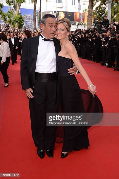 Thierry Ardisson and Audrey CrespoMara at the premiere for Lawless during the 65th Cannes International Film Festival