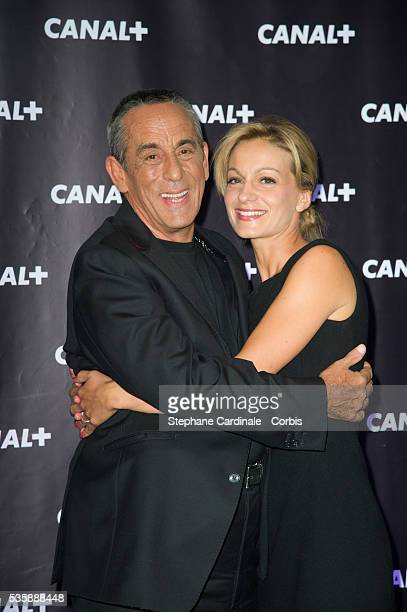 Thierry Ardisson and Audrey CrespoMara attend the Canal Press Conference in Paris