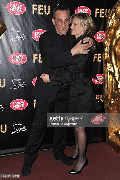 Thierry Ardisson and his girlfriend Audrey CrespoMara attend the VIP Premiere of 'Feu' Directed By Christian Louboutin at Le Crazy Horse on March 12...