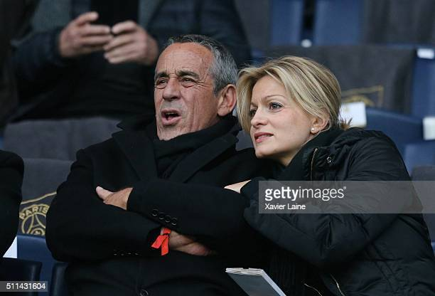 Thierry Ardisson and his wife Audrey CrespoMara attend during the French Ligue 1 between Paris SaintGermain and Stade de Reims at Parc Des Princes on...