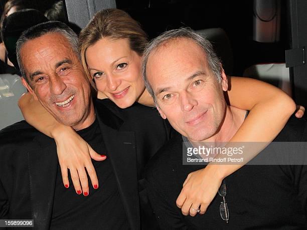 Thierry Ardisson his companion Audrey CrespoMara and Laurent Baffie attend 'La Petite Maison De Nicole' Inauguration Cocktail at Hotel Fouquet's...