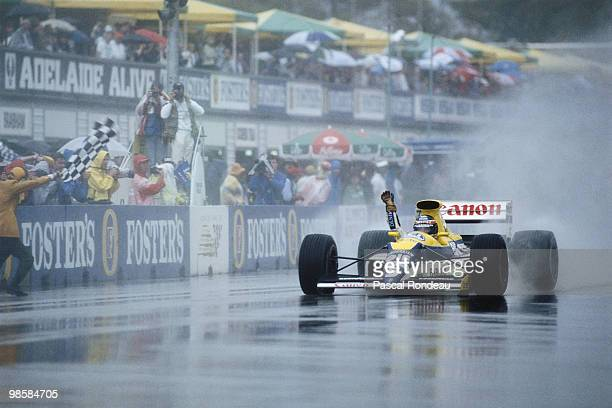 Thierry Boutsen driving the Canon Williams Renault FW13 celebrates winning the Australian Grand Prix on 5 November 1989 at the Adelaide Street...