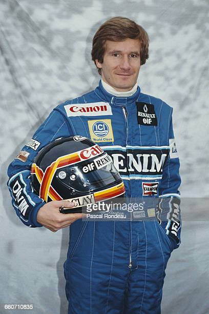 Thierry Boutsen of Belgium driver of the Canon Williams Renault Williams FW13B Renault V10 poses for a portrait during pre season testing on 10...