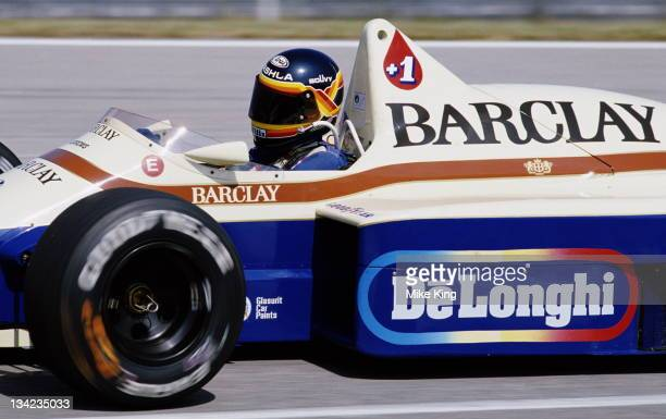 Thierry Boutsen of Belgium drives the Barclays Arrows BMW Arrows A8 BMW 15 L4T during practice for the Brazilian Grand Prix on 6th April 1985 at the...