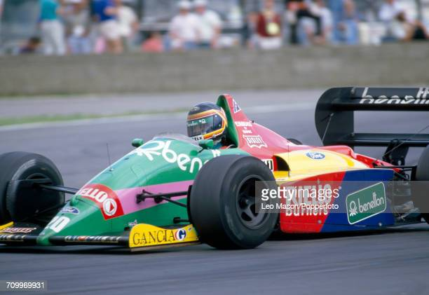 Thierry Boutsen of Belgium, driving a Benetton B187 with a Ford Cosworth GBA 1.5 V6t engine for Benetton Formula Ltd, enroute to placing seventh...