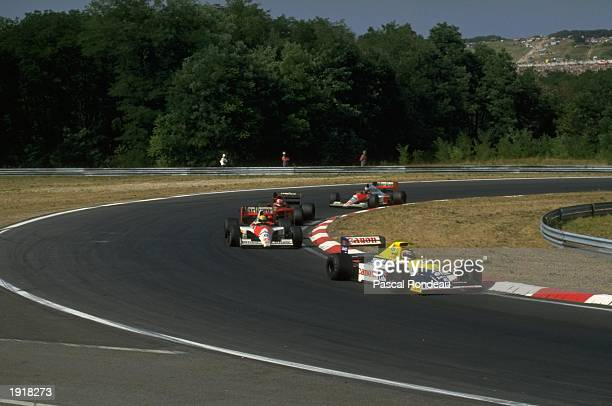 Thierry Boutsen of Belgium leads the field in his Williams Renault during the Hungarian Grand Prix at the Hungaroring circuit in Budapest Hungary...