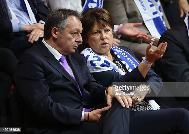 Thierry Braillard and Martine Aubry attend day three of the Davis Cup tennis final between France and Switzerland at the Grand Stade Pierre Mauroy on...