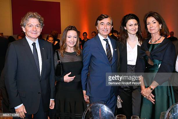 Thierry Breton his wife Valerie Breton their daughter Philippe DousteBlazy and Marie Laure Bec attend the 'Fondation Claude Pompidou' Charity Party...