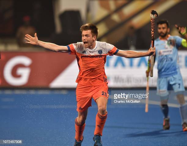Thierry Brinkman of Netherlands celebrates after scoring during the FIH Men's Hockey World Cup quarter final match between India and Netherlands at...