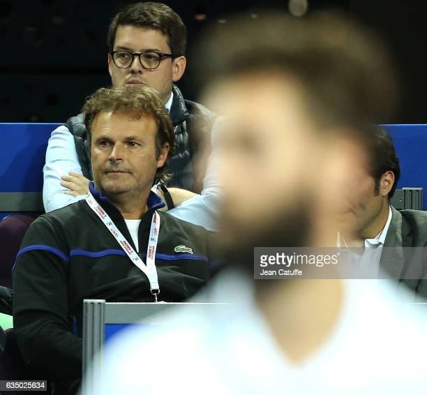 Thierry Champion coach of Benoit Paire of France looks on during day 6 of the Open Sud de France an ATP Tour 250 tournament at Arena Montpellier on...