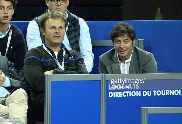 Thierry Champion coach of Benoit Paire Sebastien Grosjean Tournament Director attend the match of Benoit Paire during day 6 of the Open Sud de France...