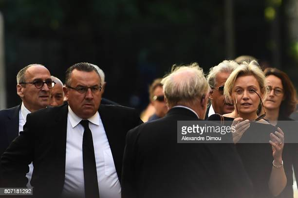 Thierry Cheleman president of Media Channel Canal Jean Pierre Caillot president of Reims and Nathalie Boy De La Tour president of LFP during Funeral...