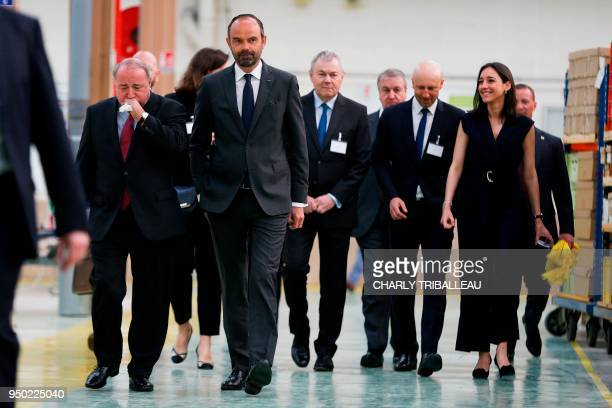 Thierry de La Tour d'Artaise CEO of small domestic appliances and cookware Groupe Seb Moulinex French Prime Minister Edouard Philippe and French...