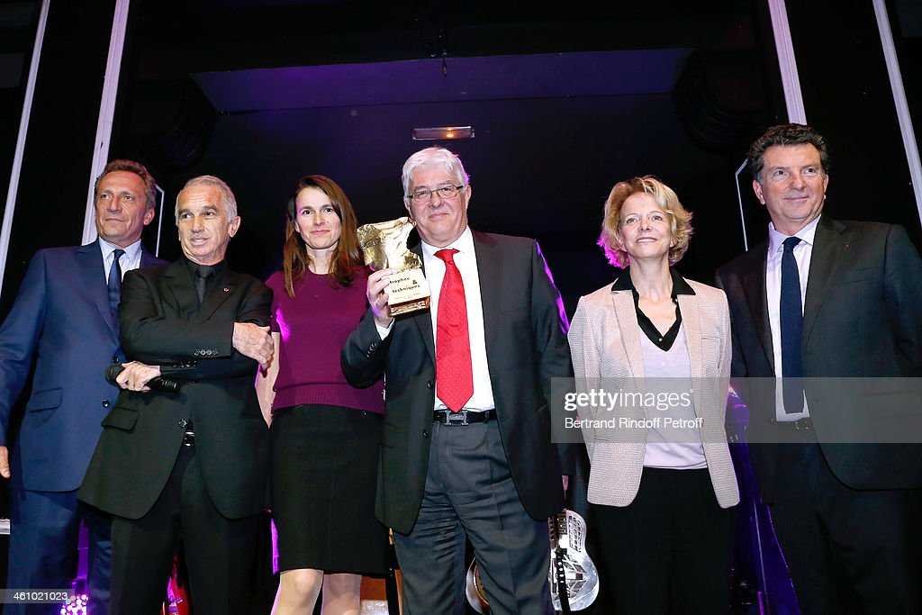Thierry de Segonzac, President of the 'Cesar', the French Academy Awards Alain Terzian, French Culture Minister Aurelie Filippetti, CEO of Transpalux and awarded Didier Diaz, President of CNC Frederique Bredin and CEO of Audiens Patrick Bezier attend 'Cesar et Techniques 2014' Award Ceremony at Club Haussmann on January 6, 2014 in Paris, France.