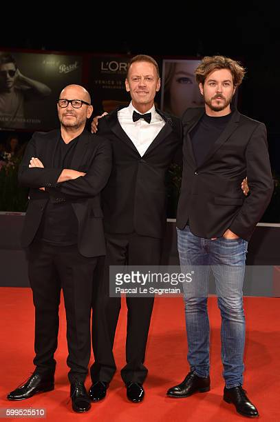 Thierry Demaiziere Rocco Siffredi and Alban Teurlai attend the premiere of 'Rocco' during the 73rd Venice Film Festival at Sala Perla on September 5...