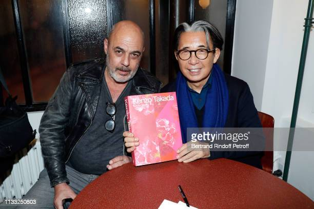 Thierry Dreyfus and Kenzo Takada attend the Kenzo Takada Book Signing during 'Azzedine Alaia Collectioneur Adrian et Alaia L'art du tailleur'...
