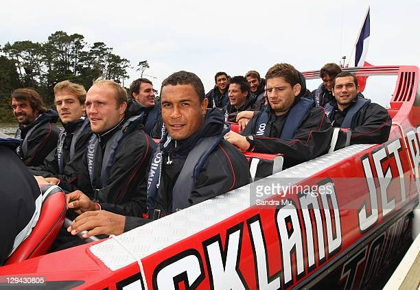 Thierry Dusautoir of the French IRB Rugby World Cup 2011 squad enjoys jet boating in Auckland's harbour on their day off at the Riverhead Tavern on...