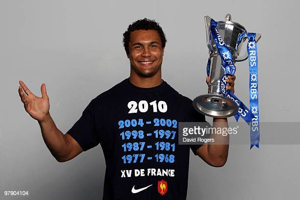 Thierry Dusautoir the captain of France celebrates with the trophy after winning the Grand Slam and Championship during the RBS Six Nations...