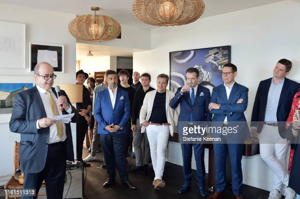 Thierry Esslinger speaks at Breguet Marine Collection Launch at Little Beach House Malibu on July 11 2019 in Malibu California