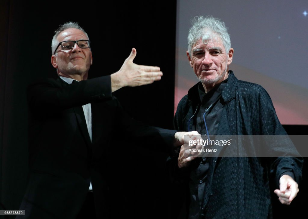 Tribute to christopher doyle the 70th annual cannes film festival thierry fremaux and christopher doyle greet each other on stage during the tribute to christopher doyle m4hsunfo