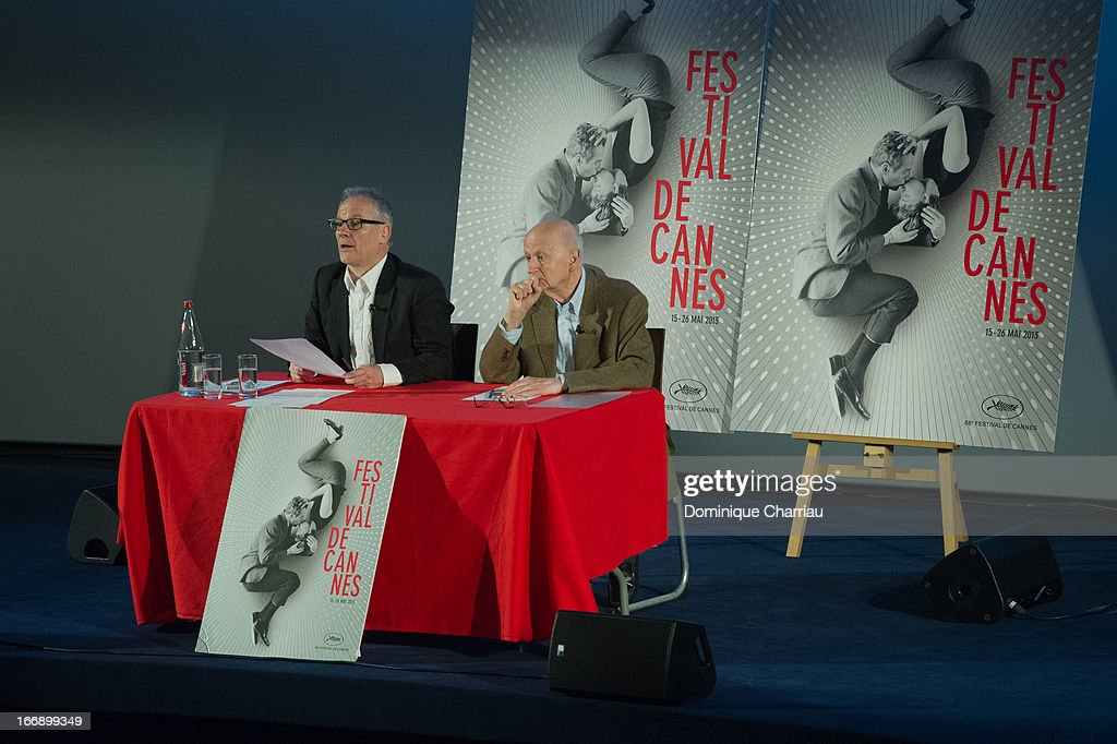 Thierry Fremaux and Gilles Jacob attends the 66th Cannes Film Festival Official Selection Presentation - Press Conference at Cinema UGC Normandie on April 18, 2013 in Paris, France.