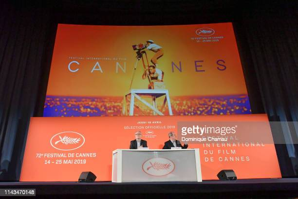 Thierry Fremaux and Pierre Lescure attend the 72th Cannes Film Festival Official Selection Presentation At UGC Normandie In Paris on April 18 2019 in...