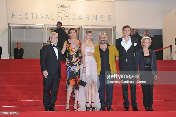 Thierry Fremaux Aomi Muyock Klara Kristin Garpar Noe Karl Glusman and Frederique Bredin attends at the 'Love' Premiere during the 68th Cannes Film...