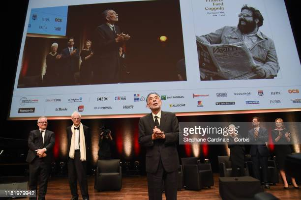 Thierry Fremaux, Bertrand Tavernier, Francis Ford Coppola, Eleanor Coppola, Roman Coppola and Nathalie Baye during the tribute to Francis Ford...