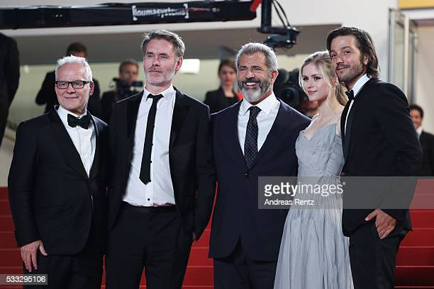 Thierry Fremaux director JeanFrancois Richet Mel Gibson Erin Moriarty and Diego Luna attend the Blood Father Premiere during the 69th annual Cannes...
