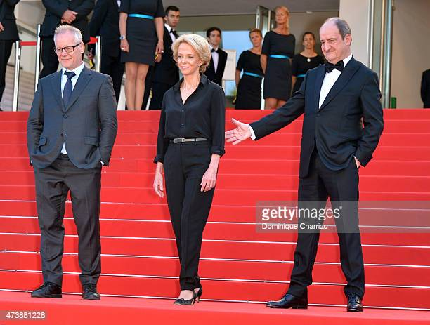 Thierry Fremaux Frederique Bredin and Pierre Lescure attend the La Loi Du Marche Premiere during the 68th annual Cannes Film Festival on May 18 2015...