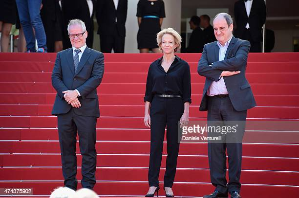 """Thierry Fremaux, Frederique Bredin and Pierre Lescure attend the """"Valley Of Love"""" Premiere during the 68th annual Cannes Film Festival on May 22,..."""