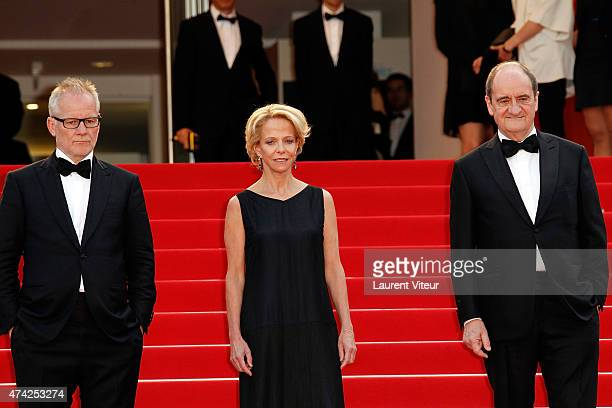 """Thierry Fremaux, Frederique Bredin and Pierre Lescure attend the """"Dheepan"""" premiere during the 68th annual Cannes Film Festival on May 21, 2015 in..."""