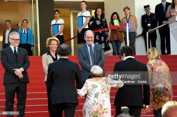 Thierry Fremaux Frederique Bredin Pierre Lescure Directors JR Agnes Varda composer Matthieu Chedid and members of the cast attend the Faces Places...