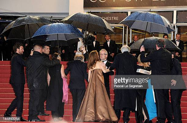 """Thierry Fremaux greets Emmanuelle Riva attends the """"Amour"""" premiere during the 65th Annual Cannes Film Festival at Palais des Festivals on May 20,..."""