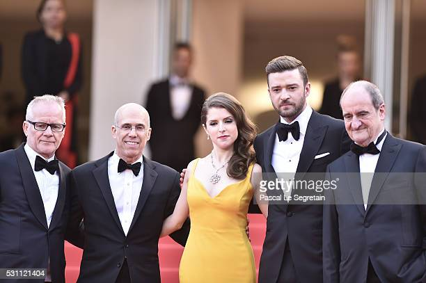Thierry Fremaux guest Anna Kendric Justin Timberlake and Pierre Lescure attend the 'Cafe Society' premiere and the Opening Night Gala during the 69th...