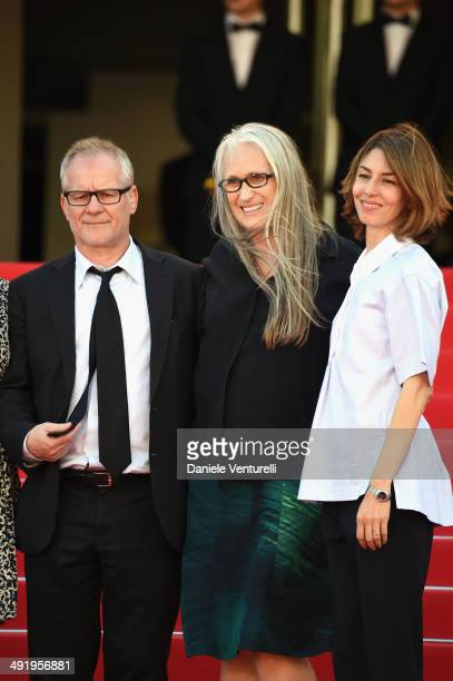 Thierry Fremaux Jane Campion and Sofia Coppola attends 'The Wonders' Premiere at the 67th Annual Cannes Film Festival on May 18 2014 in Cannes France