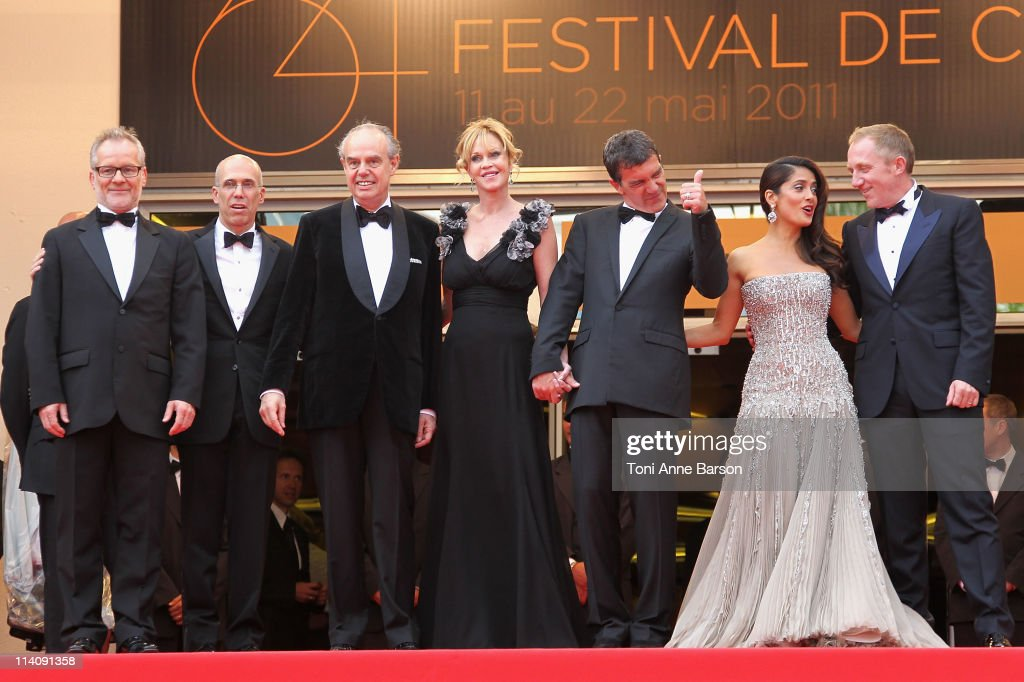 Thierry Fremaux, Jeffrey Kattzenberg, Frederic Mitterrand, Melanie Griffith, Antonio Banderas, Salma Hayek and Francois Henri Pinault attend the Opening Ceremony and 'Midnight In Paris' Premiere at the Palais des Festivals during the 64th Cannes Film Festival on May 11, 2011 in Cannes, France.