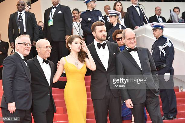 Thierry Fremaux Jeffrey Katzenberg Anna Kendrick Justin Timberlake and Pierre Lescure attend the screening of 'Cafe Society' at the opening gala of...