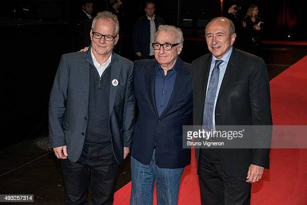 Thierry Fremaux Martin Scorsese and Gerard Collomb attend the closing ceremony 7th Lumiere Film Festival on October 18 2015 in Lyon France