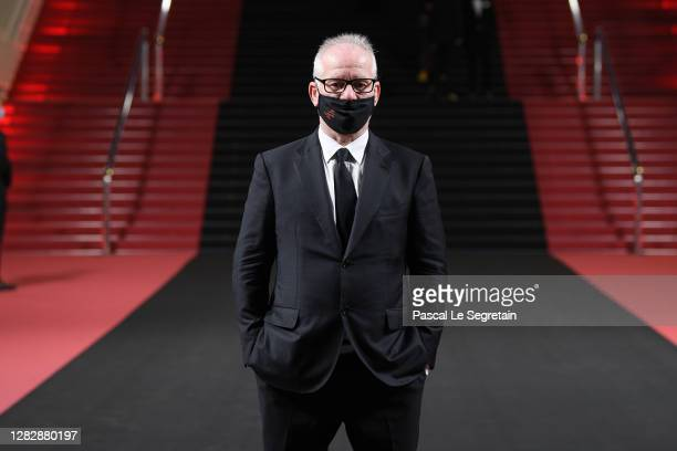"Thierry Fremaux poses in front of the Palais des festival after the Best Short Film Palme D'Or Award Ceremony of the ""Special Cannes 2020 : Le..."