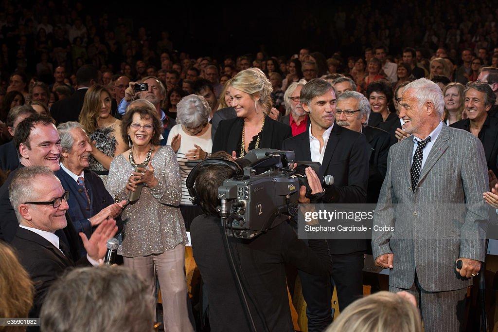 Thierry Fremaux, Quentin Tarantino, Jean Rochefort, Claudia Cardinale, Luana Belmondo, Paul Belmondo and Jean Paul Belmondo attend the Tribute to Jean Paul Belmondo and Opening Ceremony of the Fifth Lumiere Film Festival, in Lyon.